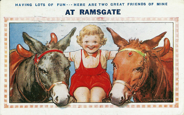 Donkeys comic postcard from Ramsgate