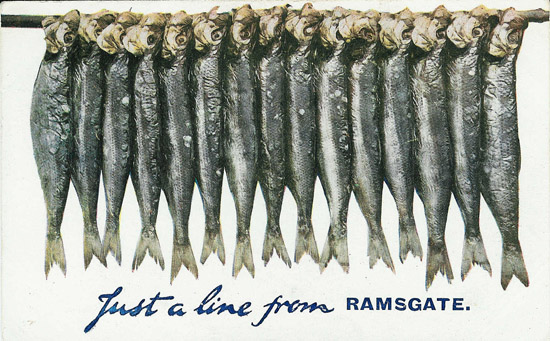 Line of Fish postcard from Ramsgate