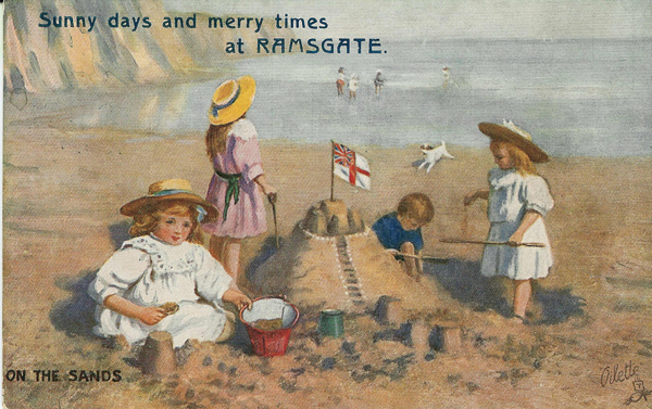Beach time comic postcard from Ramsgate