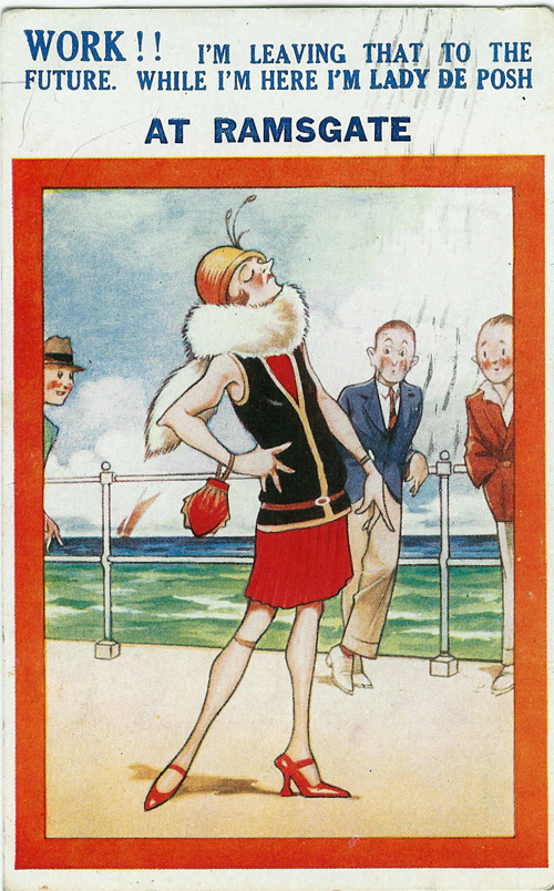 Lady De Posh comic postcard from Ramsgate