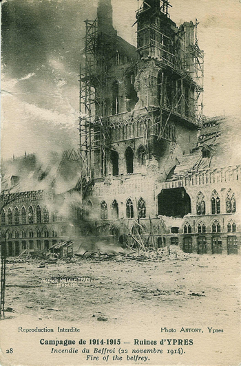 card of damage to Ypres